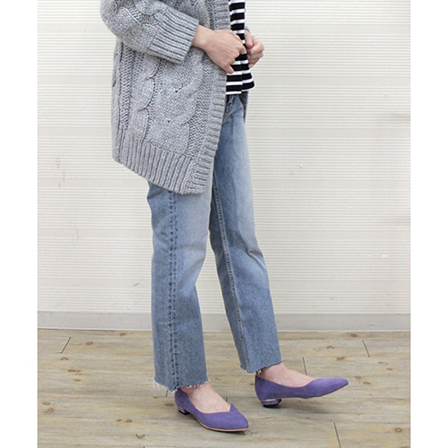 【WEB限定】Vカットフラットパンプス【Made in Japan】/124-01130
